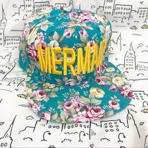 🚨🆕 MERMAID NWOT Blue Floral Trucker Baseball Cap